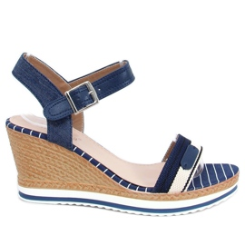 Navy sandals on wedges A89832 Blue