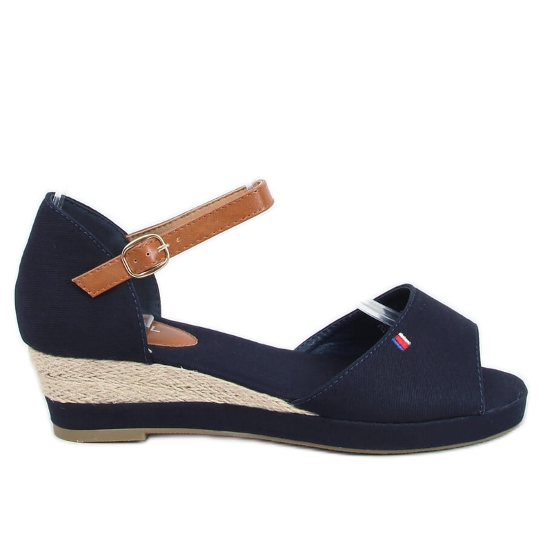 Tommy Sandals on a low wedge blue BL-362 Navy brown