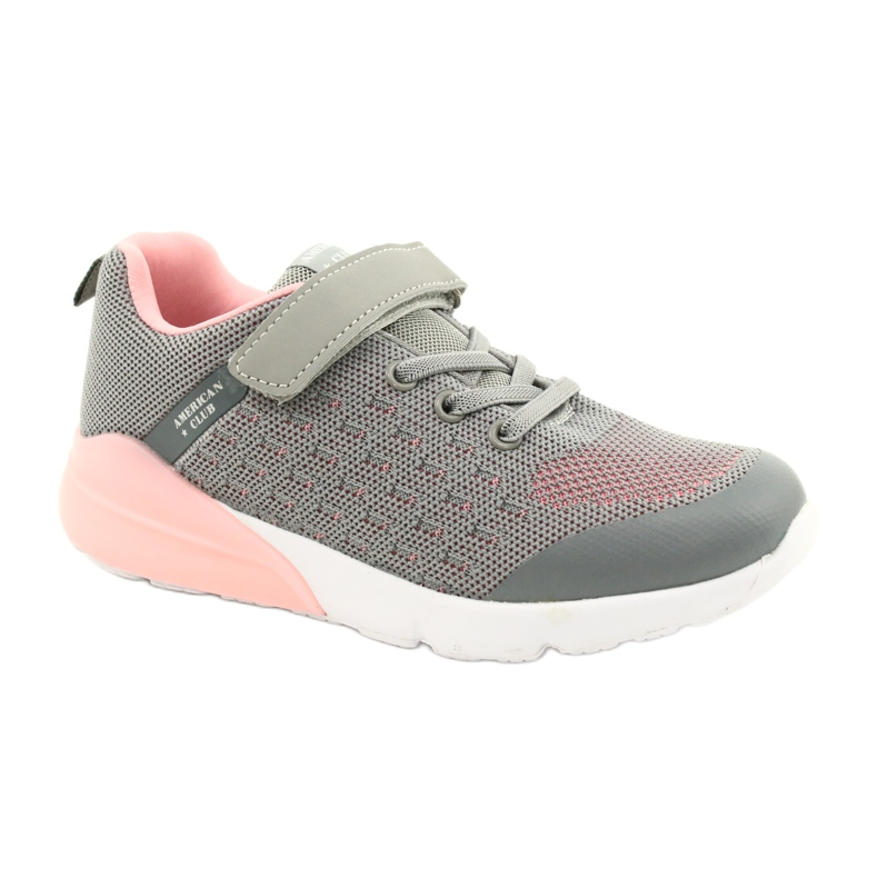 American Club Girls' Sport shoes with Velcro RL11 Gray-Pink grey