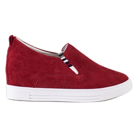 Filippo Wedge Leather Footwear red