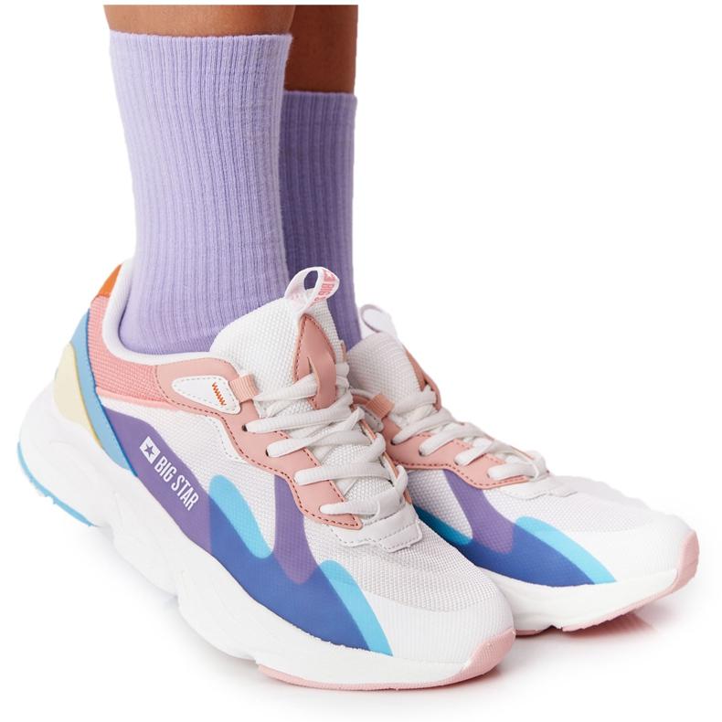 Women's Sport Shoes Memory Foam Big Star HH274809 White-Pink violet blue