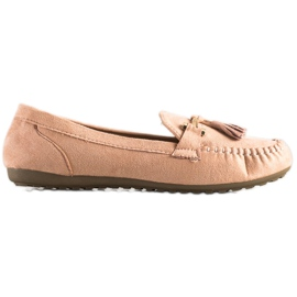 Queentina Fashionable suede loafers beige pink