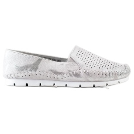 Goodin Silver Leather Loafers grey