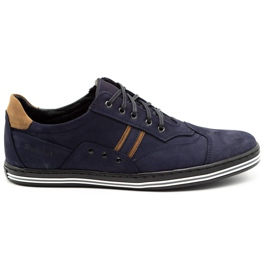 Polbut Men's casual shoes 1801 navy blue nubuck / camel multicolored
