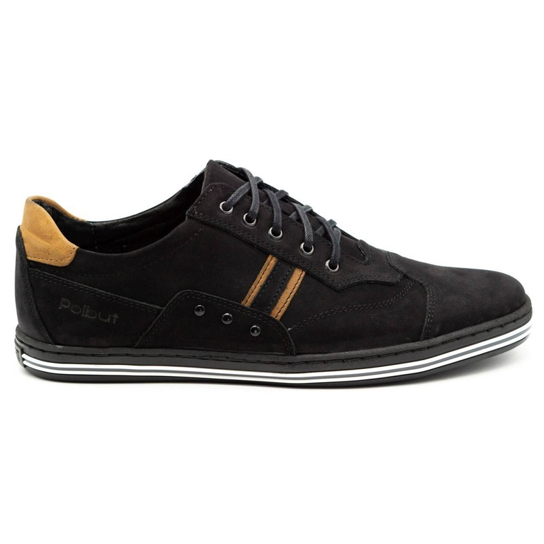 Polbut Casual men's shoes 1801 black nubuck / camel
