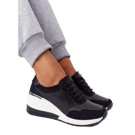 S.Barski Openwork Leather Wedge Sneakers S. Bararski Black white