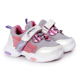 Children's Sport Shoes Sneakers White and Pink Space Ride grey multicolored