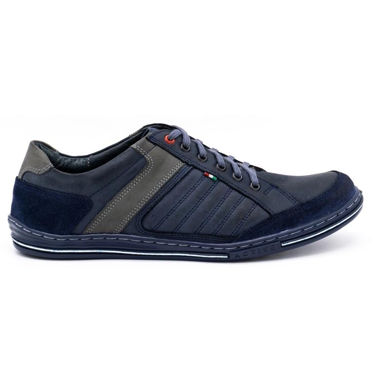 Olivier men's leather shoes 236GT navy blue
