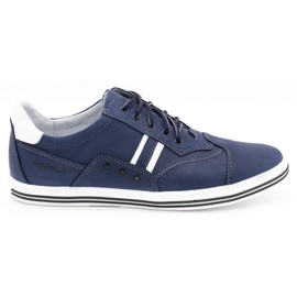 Polbut Men's casual shoes 1801 navy blue with white multicolored