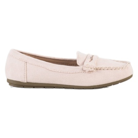 Super Me Beige suede loafers