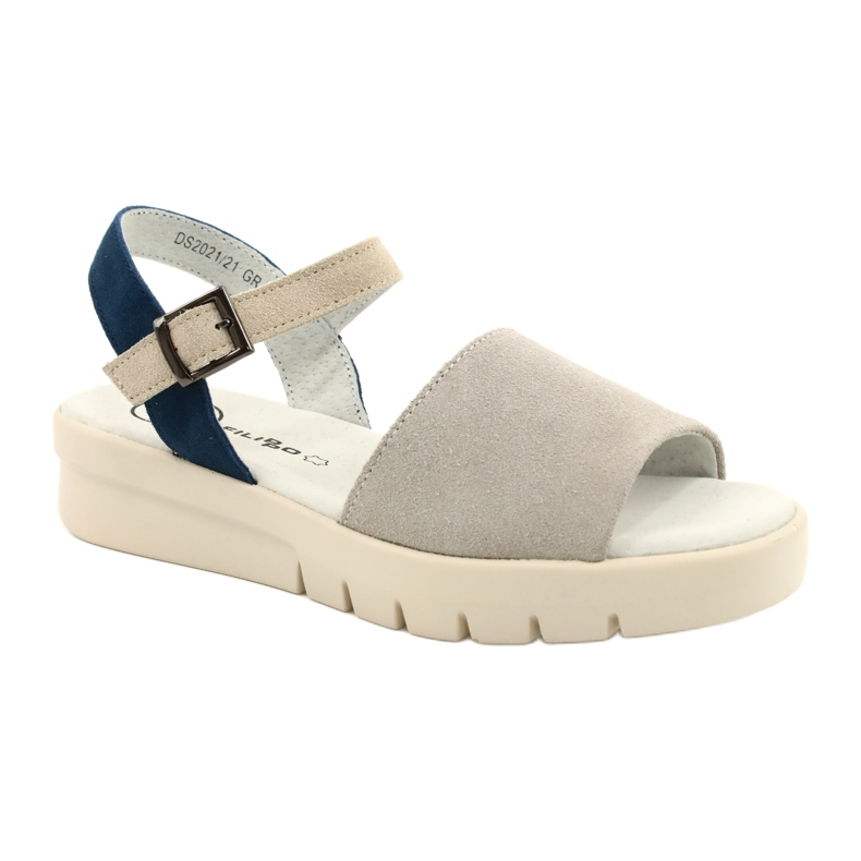 Comfortable Sandals Leather Filippo DS2021 / 21 GR blue grey