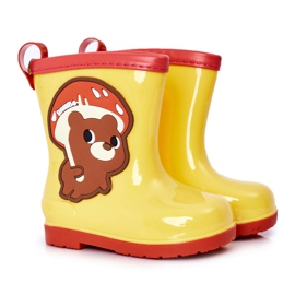 Children's Yellow Galoshes With A Teddy Bear