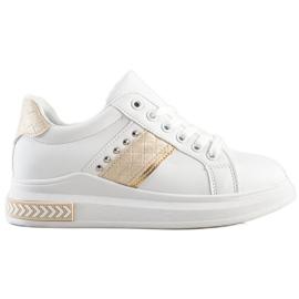 SHELOVET Casual Sneakers white golden
