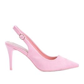 Pink eco suede pumps on Donna belt