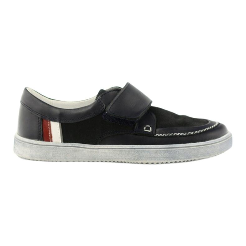 Leather low boots Bartek 28369 navy