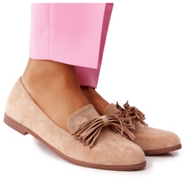 EVE Fringed Suede Loafers Beige Alicante