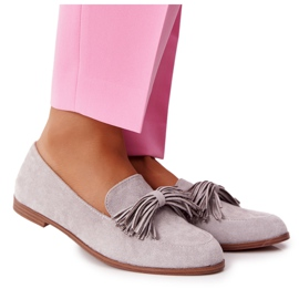 EVE Fringed Suede Loafers Gray Alicante grey