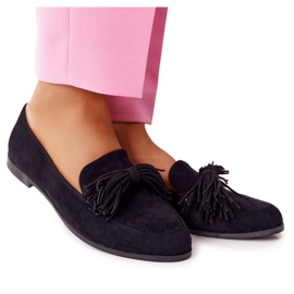 EVE Fringed Suede Loafers Black Alicante