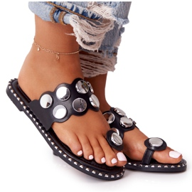 PS1 Eco-leather Slippers With Rhinestones Black Ava