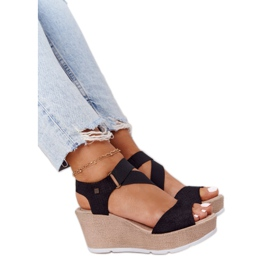 Leather Wedge Sandals Big Star FF276016 Black