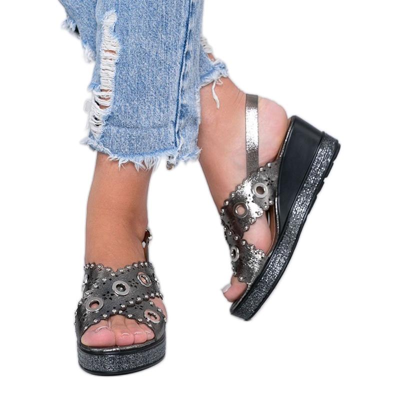 Gray metallic wedge sandals Mon grey