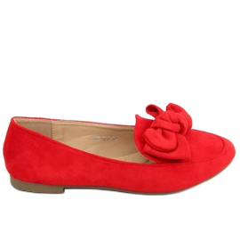 Loafers with a bow red 88-382 Red