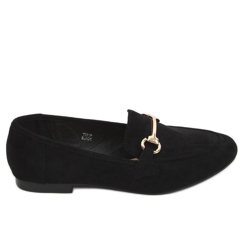 Black women's loafers T391P Black