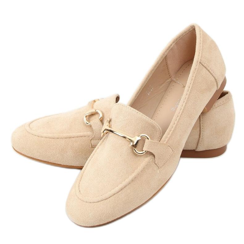 Ladies' beige loafers T391P Beige