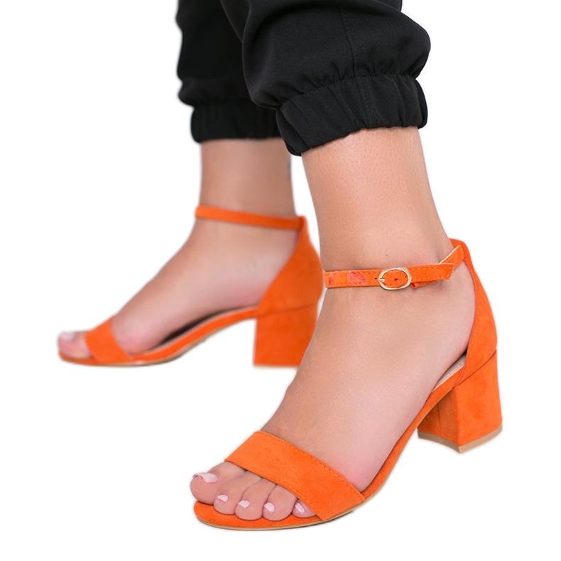 Orange sandals on the post of Beti