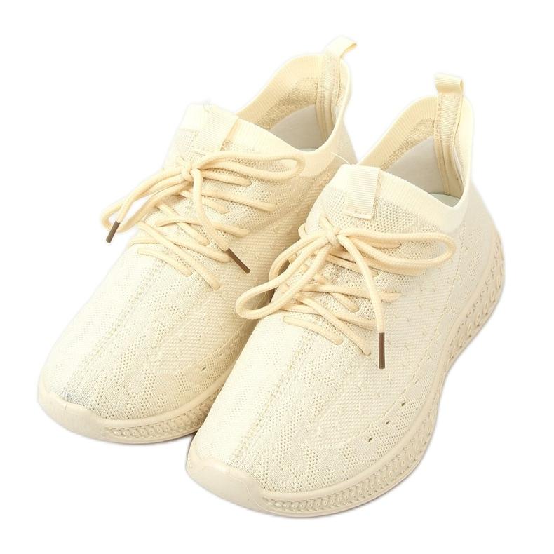 Beige socks sports shoes 7819 LT.BEIGE
