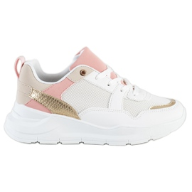 SHELOVET Stylish Sneakers With Mesh white multicolored