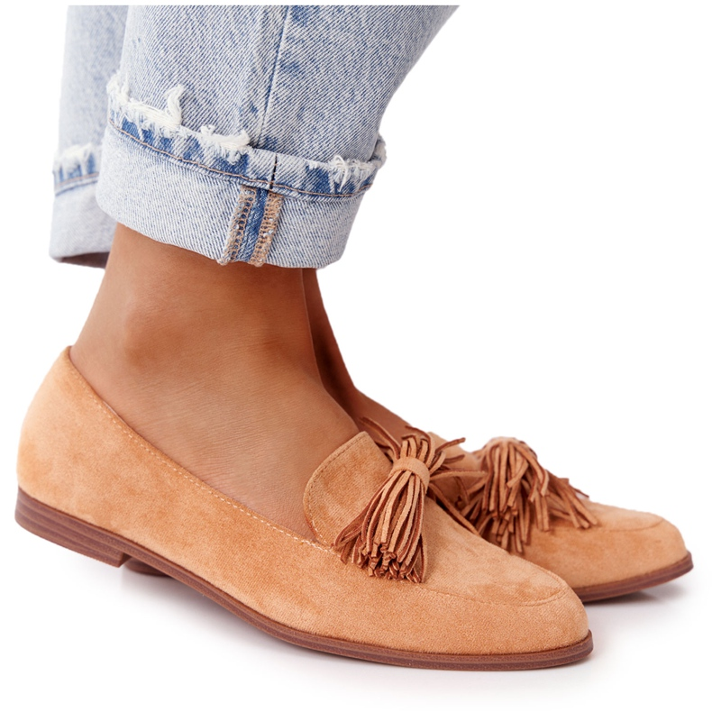 EVE Fringed Suede Loafers Camel Alicante brown