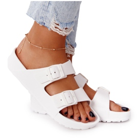 NEWS Women's White Stacy Rubber Slippers