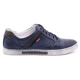 Polbut Men's shoes J47 navy blue with gray multicolored