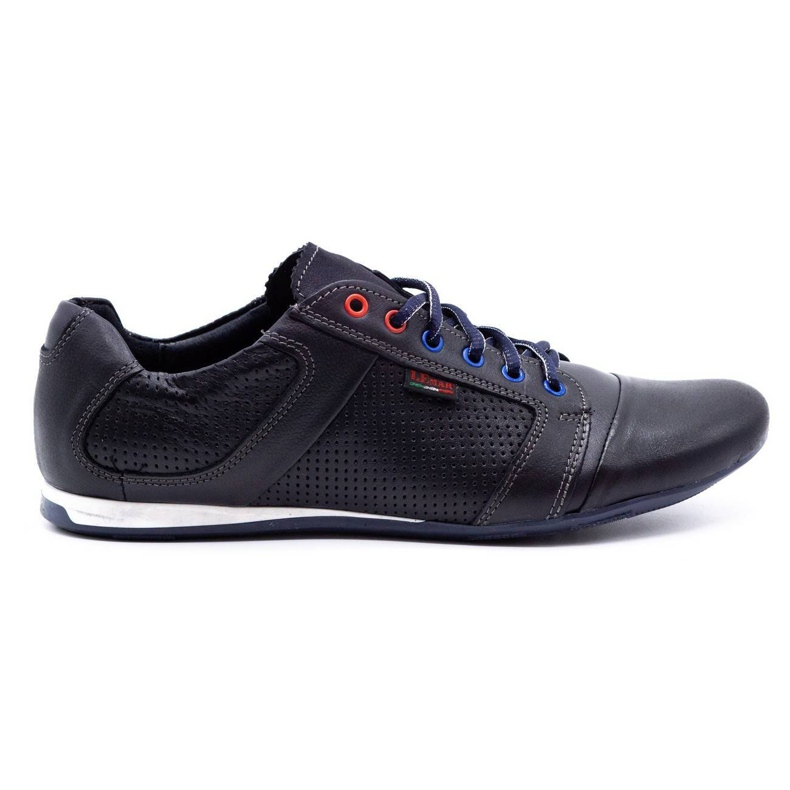 Lemar Men's leather shoes 882 dark navy blue grain