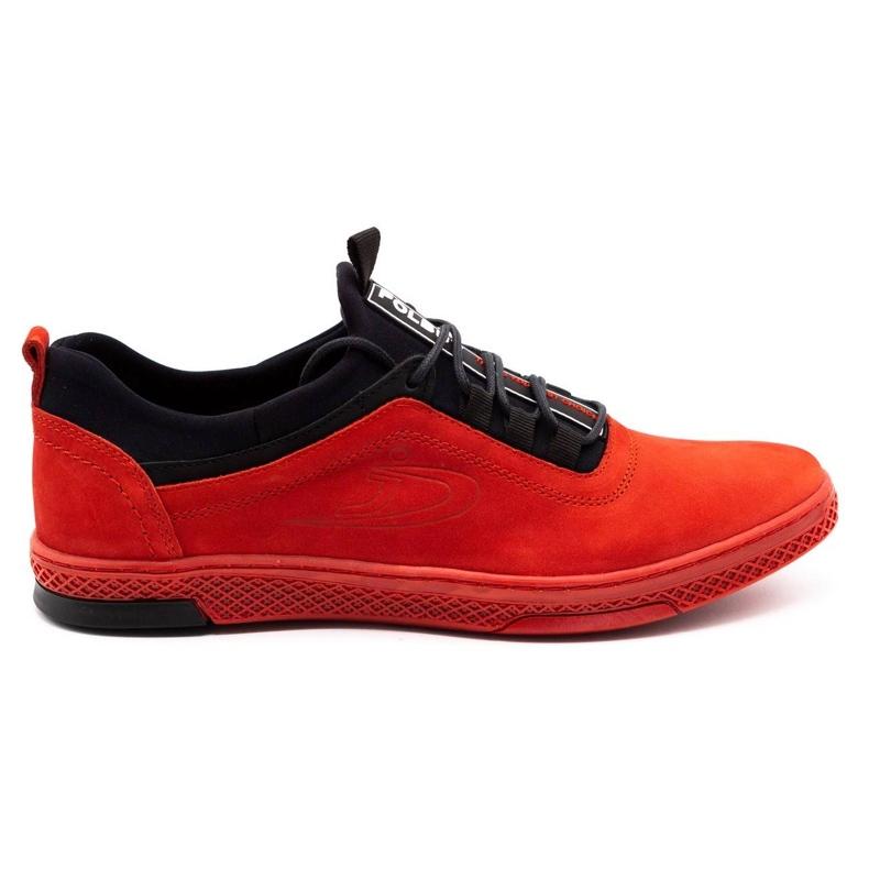 Polbut Men's leather casual shoes K24 red nubuck black