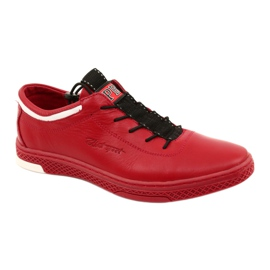 Polbut Men's leather casual shoes K23 red white black