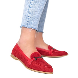 Red Juliette eco suede loafers