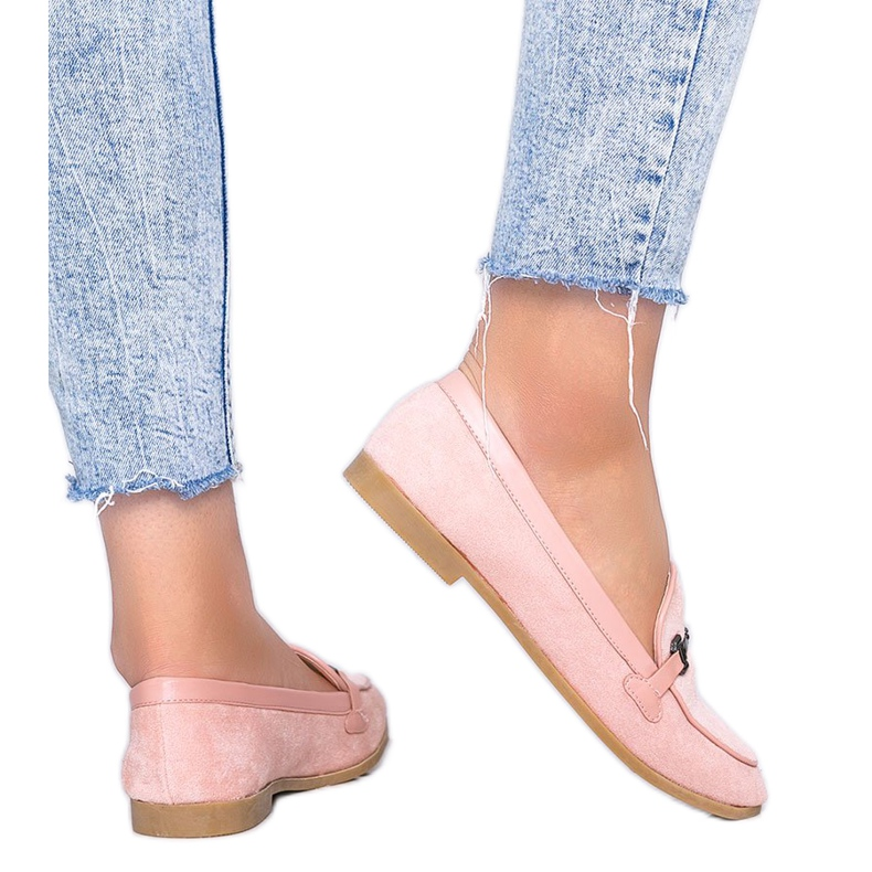 Juliette pink eco-suede loafers