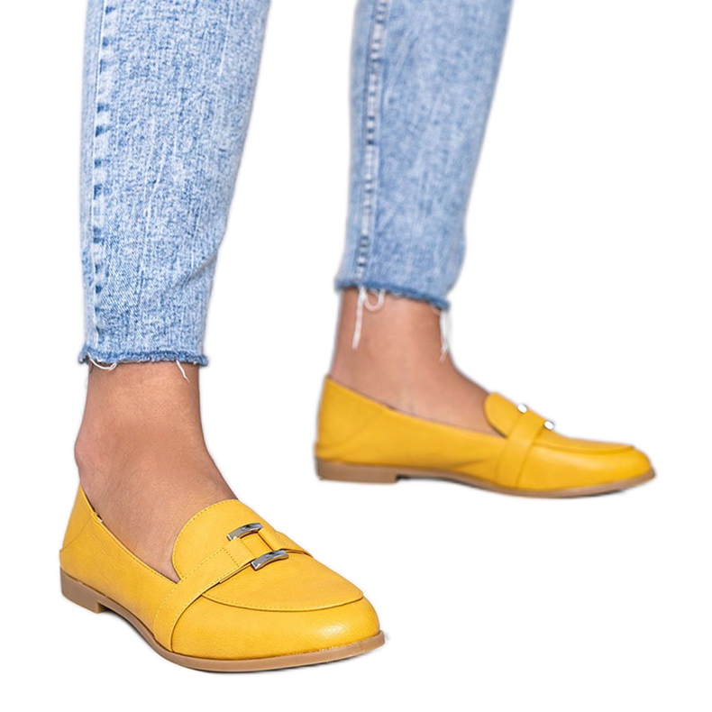Mustard loafers with an Island Paradise buckle yellow