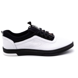 Polbut Men's leather casual shoes K24 white with black underside