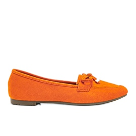Orange loafers with a bow from Arlene