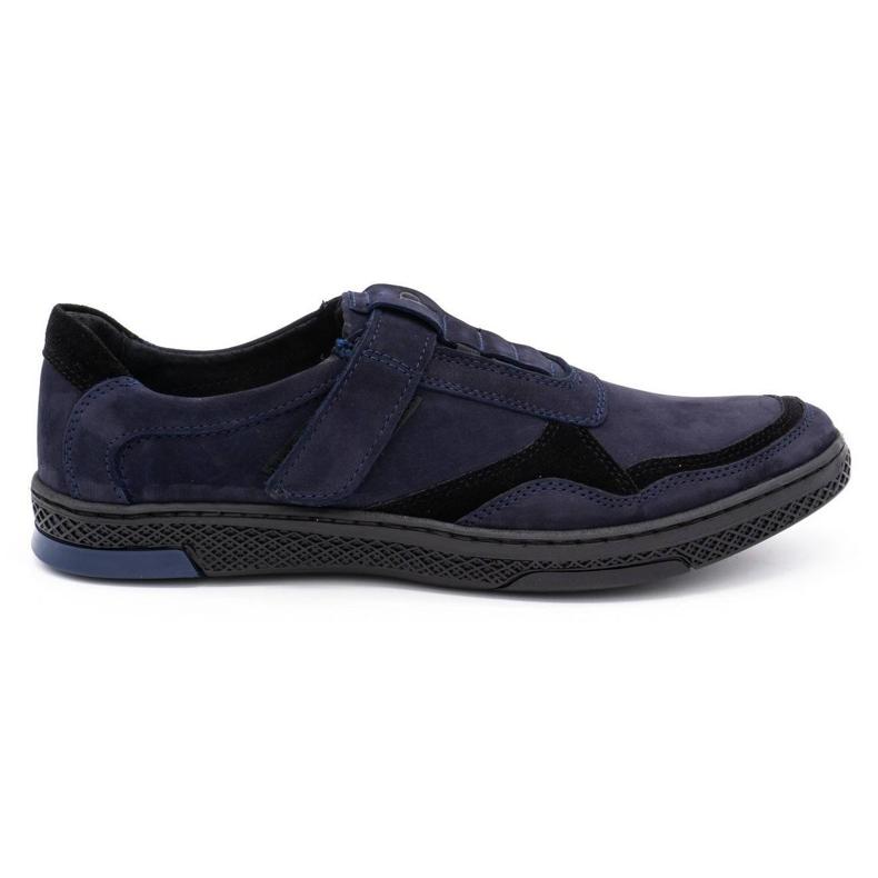 Polbut Men's casual leather shoes 2102 navy blue black