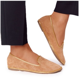 Women's Suede Loafers Lu Boo Camel brown golden
