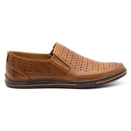 Polbut Men's openwork shoes 2107P camel brown