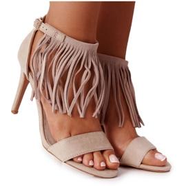 S.Barski Suede Sandals On A High Heel With Fringes Beige Boho Swing