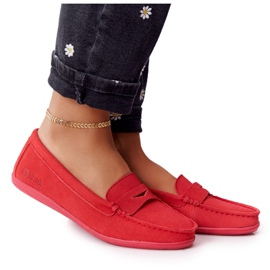 Women's Suede Loafers Big Star HH274668 Coral red