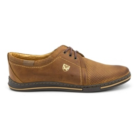 Polbut Leather shoes for men 343 camel perforation brown