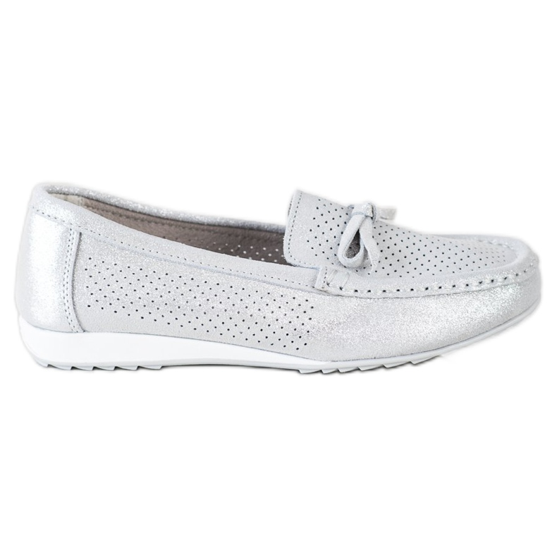 Goodin Leather Shoes With Bow silver grey
