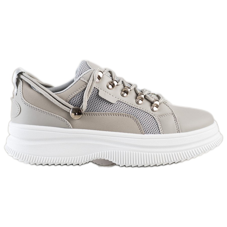 SHELOVET Gray Sneakers On The Platform beige grey